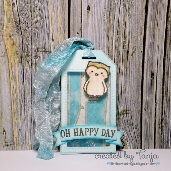 Happy Day Owl Shaker Tag