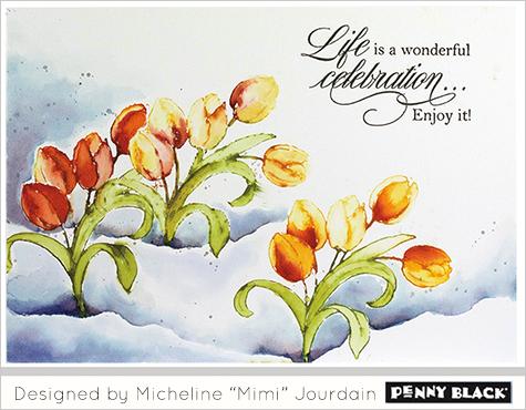 Karte von Penny Black:  Tulpen im Schnee