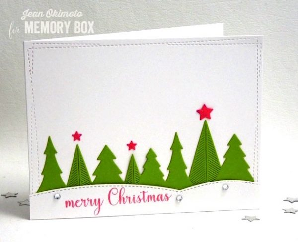 Karte von Memory Box: New Sheer Treescape, Stitched Curves and Merry Christmas Sentiments