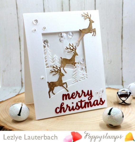 Karte von Poppy Stamps: Prancing Christmas Deer