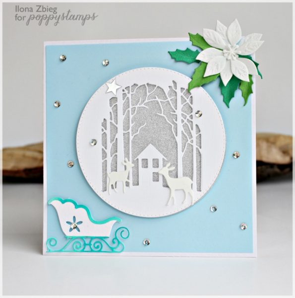 Karte von Poppy Stamps: Winter scene by Ilona Zbieg