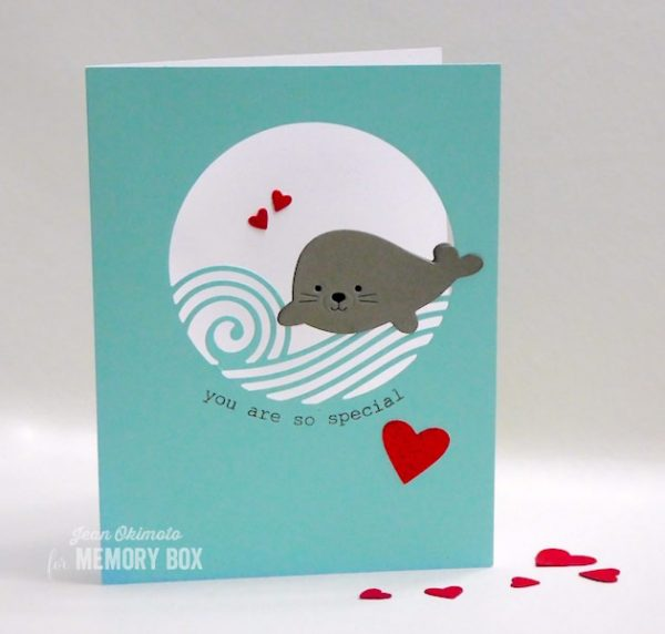 Karte von Memory Box: Rolling Wave Collage, Sweet Seal and Heart Rays
