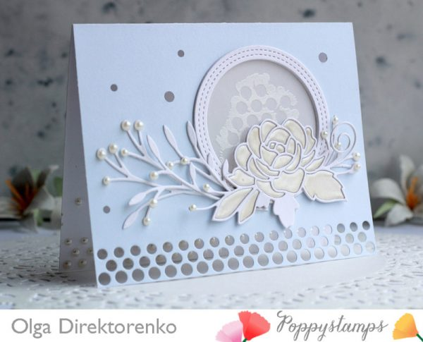 Karte von Poppy Stamps: Rose and Pearls