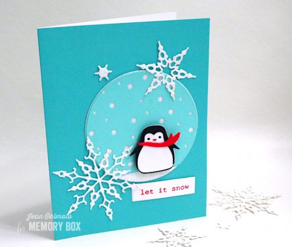 Karte von Memory Box: New Snowy Circle and Crystal Snowflakes