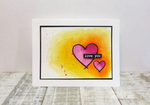 Karte von Memory Box: Watercolor Hearts
