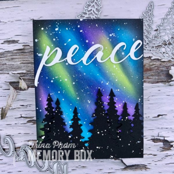 Karte von Memory Box: Northern Lights Christmas