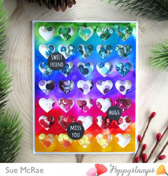 Karte von Poppy Stamps: Rainbow Shaker