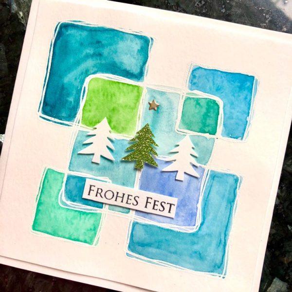 Weihnachtskarte mit Quadraten