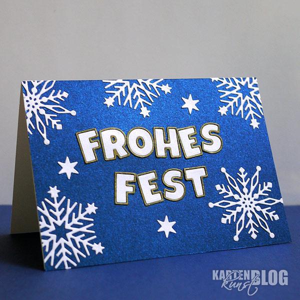 Frohes Fest - Fröhliche Weihnachtskarte in blau-weiß-gold