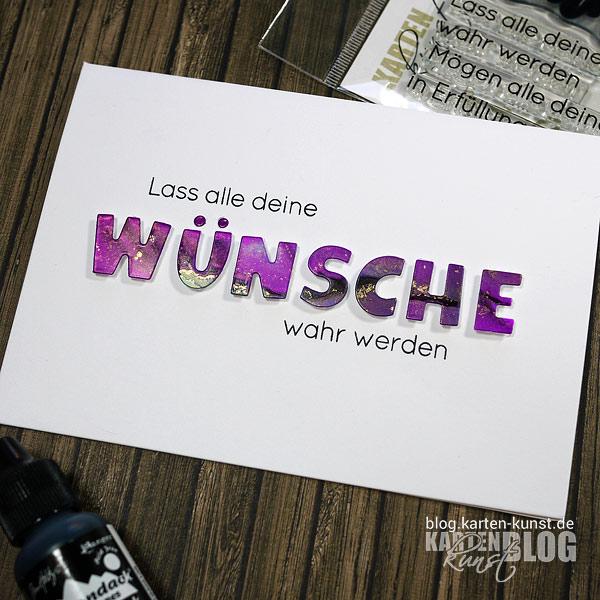 Karten-Kunst Quick Card Friday #04 – Alcohol Inks für Wünsche