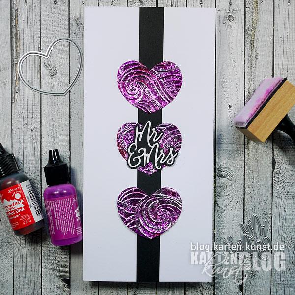 Karten-Kunst Quick Card Friday #14 – Alufolien-Herzen