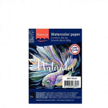 Florence Aquarellpapier Smooth A6 Schwarz 20 Blatt 300g/m²