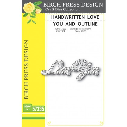 Birch Press Stanzschablone - Handwritten Love You and Outline