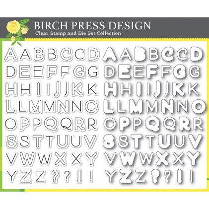 Birch Press Clear Stamp & Die Set - Mod Alphabet Stempel und Stanzen