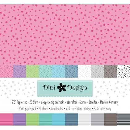 Dini Design 6x6 Papierset Sterne-Streifen