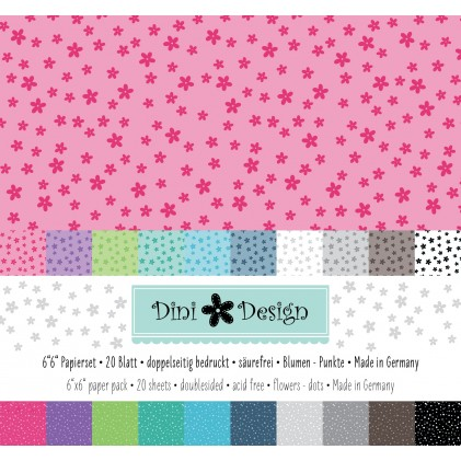 Dini Design 6x6 Papierset Blumen-Punkte