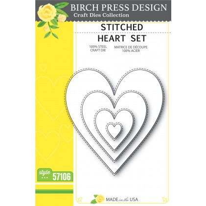 Birch Press Stanzschablone - Stitched Heart Set