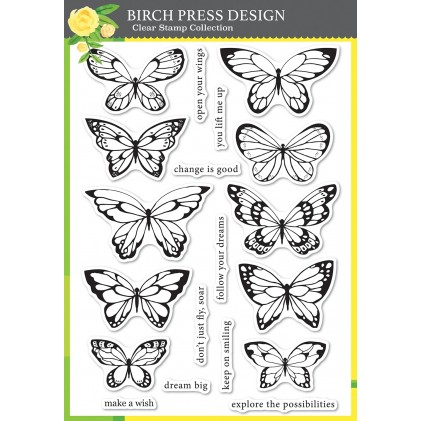 Birch Press Clear Stamp Set - Lovely Butterflies clear stamp set