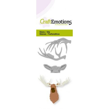 CraftEmotions Stanzschablone - Elch-Kopf 3D