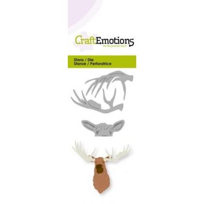 CraftEmotions Stanzschablone - Elch-Kopf 3D - 35% RABATT