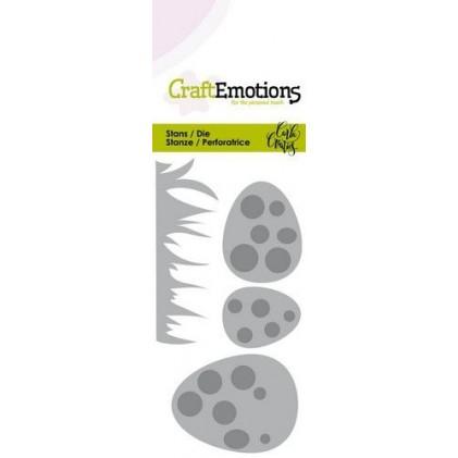 CraftEmotions Stanzschablone - Gras und Eier mit Punkten