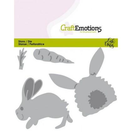 CraftEmotions Stanzschablone - Kaninchen mit Karotten - 25% RABATT