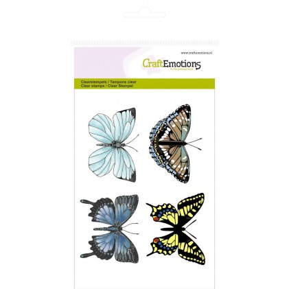 CraftEmotions Clear Stamps - 4 Schmetterlinge