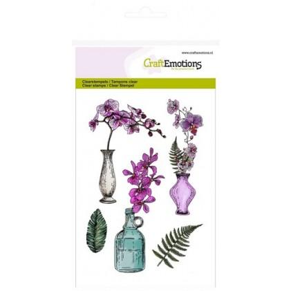 CraftEmotions Clear Stamps - Orchidee, Vasen und Flasche