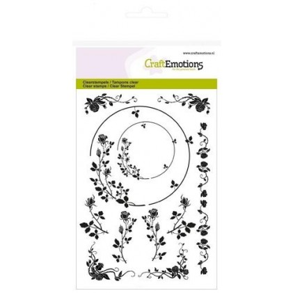 Craftemotions Clearstamps A6 - Ornaments Border Rose