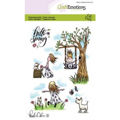 CraftEmotions clearstamps A6 - Kaat & Odey im Frühling - 25% RABATT