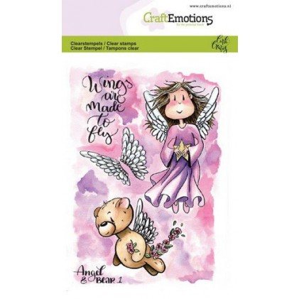 CraftEmotions clearstamps A6 - Angel & Bear 1 - 35% RABATT