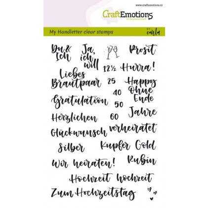 Craftemotions Clearstamps A6 - Handlettering Hochzeit