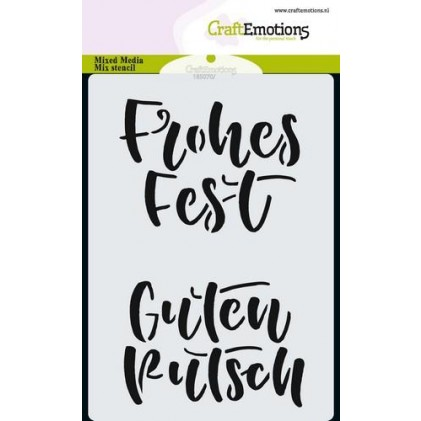 CraftEmotions Karten-Stencil A6 - Handlettering Frohes Fest