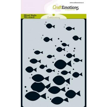 CraftEmotions Karten-Stencil A6 - Fischschwarm