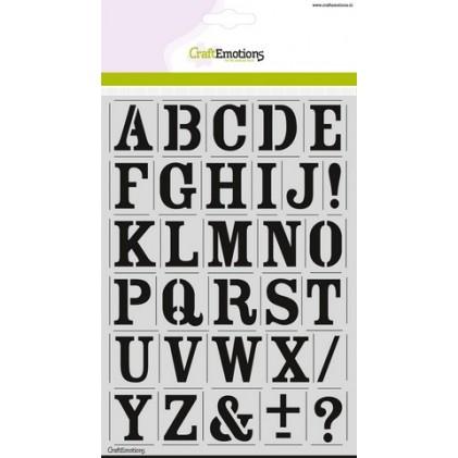 CraftEmotions Stencil A5 - Alphabet Vintage DIN A5 - 40% RABATT