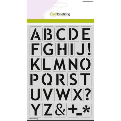 CraftEmotions Stencil A5 - Alphabet Sans-Serif DIN A5 - 25% RABATT