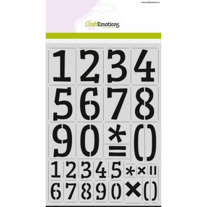 CraftEmotions Stencil groß - Zahlen Serif DIN A4