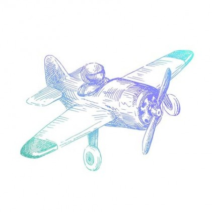 Couture Creations Men's Collection Airplane Mini Clear Stamp