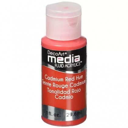 DecoArt Media Fluid Acrylics Paint Flüssige Acrylfarbe 1oz - Cadmium Red Hue - 20% RABATT
