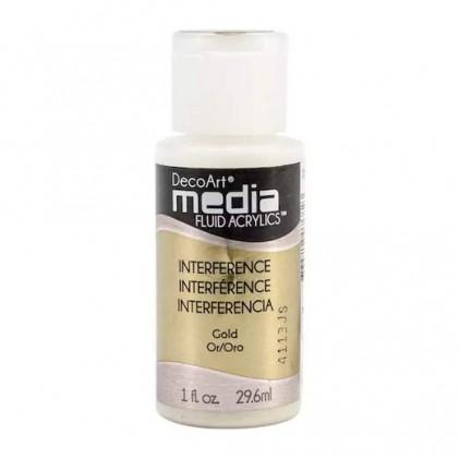 DecoArt Media Fluid Acrylics Paint Flüssige Acrylfarbe 1oz - Interference Gold