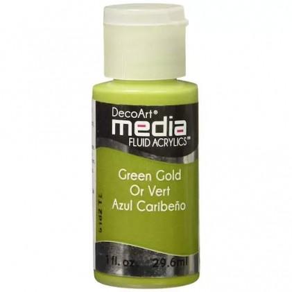DecoArt Media Fluid Acrylics Paint Flüssige Acrylfarbe 1oz - Green Gold