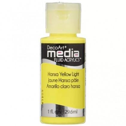 DecoArt Media Fluid Acrylics Paint Flüssige Acrylfarbe 1oz - Hansa Yellow Light