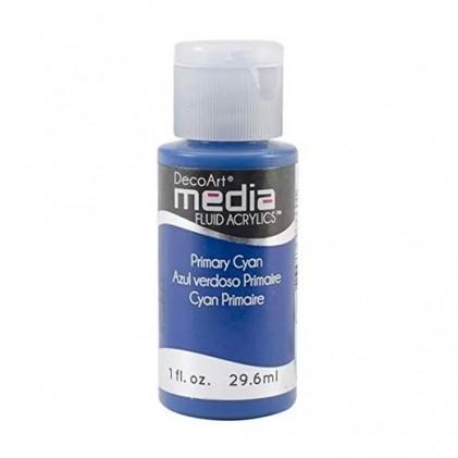 DecoArt Media Fluid Acrylics Paint Flüssige Acrylfarbe 1oz - Primary Cyan