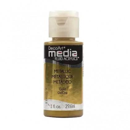 DecoArt Media Fluid Acrylics Paint Flüssige Acrylfarbe 1oz - Metallic Gold