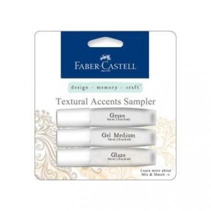 Faber Castell Mix & Match Textural Accents Mediums Sampler Set bestehend aus Gesso, Gel Medium und Glaze, je 6 ml.