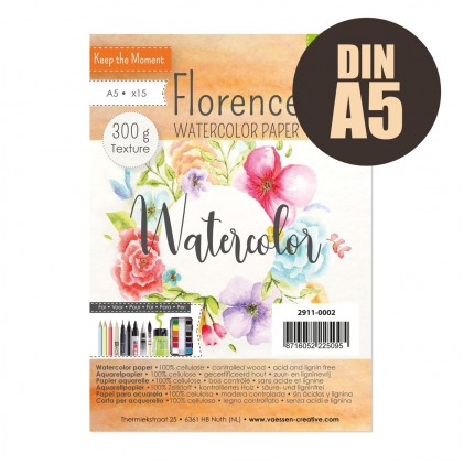 Florence Aquarellpapier Textur A5 20 Blatt 300g/m²