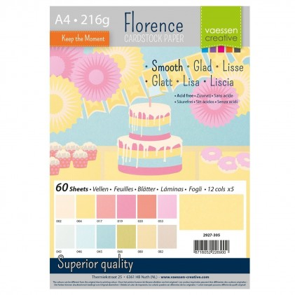 Florence Cardstock Glatt A4 60 Blatt - Pastell