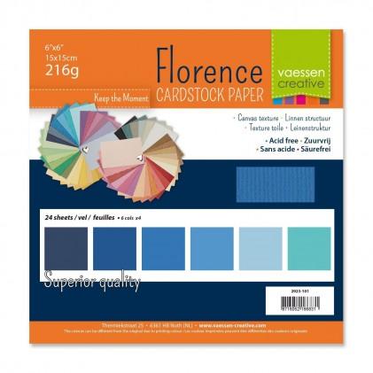 Florence Leinenkarton Multipack 15 x 15 cm 60 Blatt - Blau