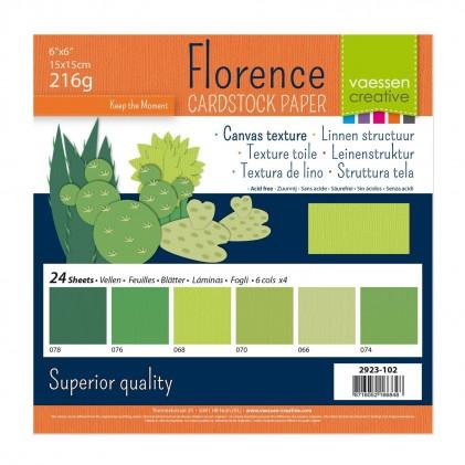 Florence Leinenkarton Multipack 15 x 15 cm 60 Blatt - Grün