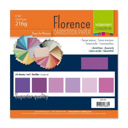 Florence Leinenkarton Multipack 15 x 15 cm 60 Blatt - Lila